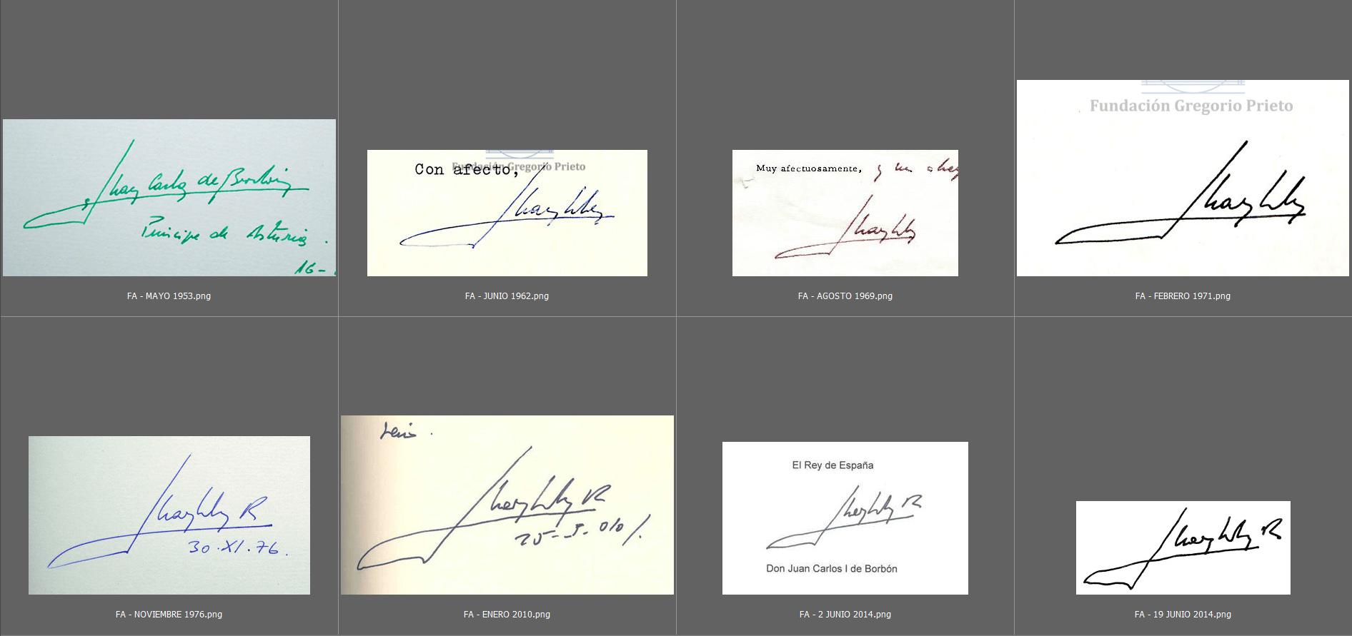 Estudio caligráfico de las firmas de Don Juan Carlos 4