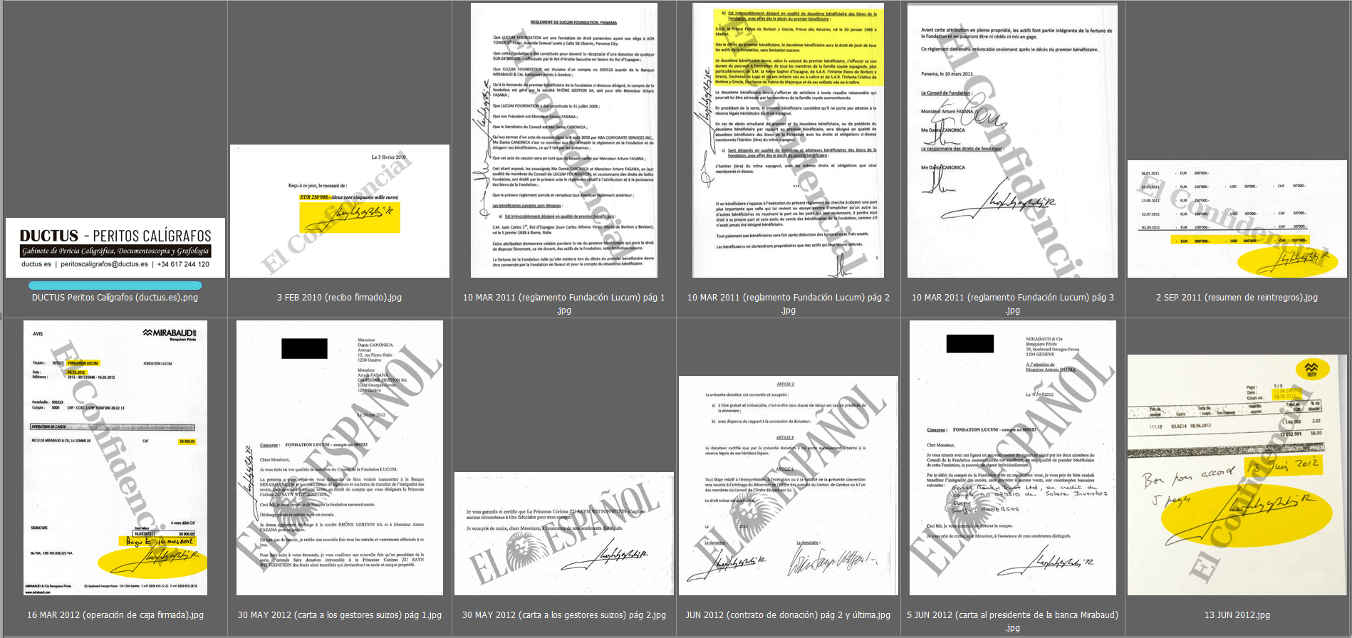 Estudio caligráfico de las firmas de Don Juan Carlos 1