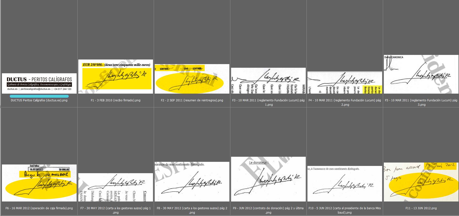 Estudio caligráfico de las firmas de Don Juan Carlos 2
