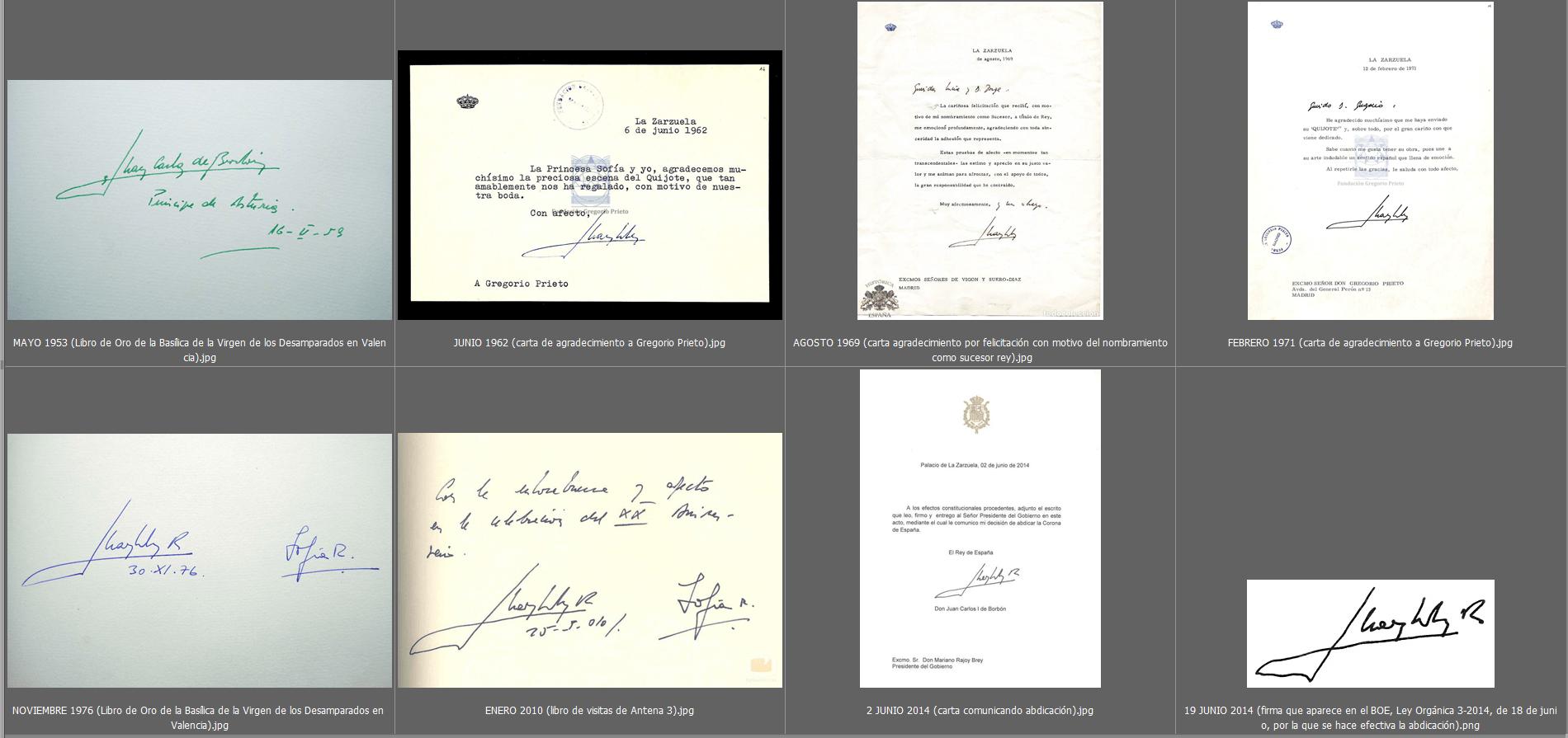 Estudio caligráfico de las firmas de Don Juan Carlos 3